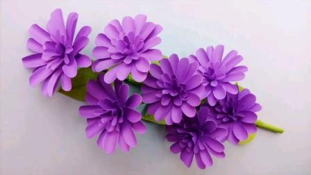 手工diy:漂亮的紫色小花花束制作