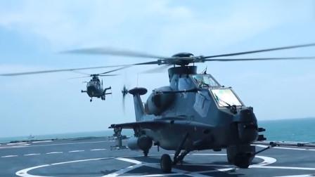 燃!实拍解放军跨军种舰机协同:陆航武直-10降落海军军舰甲板
