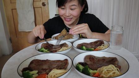 4块牛排,2张手抓饼,幸福用意面和西蓝花摆盘吃西餐,直接下手了