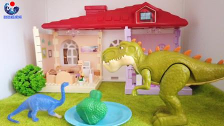 巨兽龙的好朋友来家里做客,雷龙原来喜欢吃蔬菜