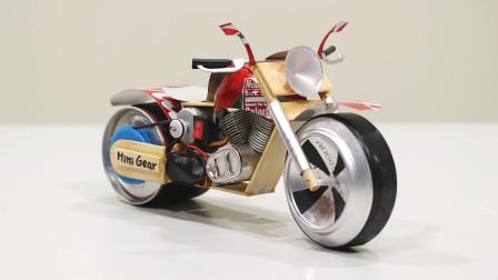 厉害了,小哥用废弃易拉罐制作一部霸气的迷你摩托车模型玩具