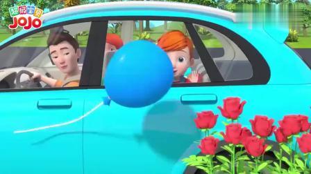 超级宝贝:宝宝发现了蓝色气球,气球被玫瑰扎破了