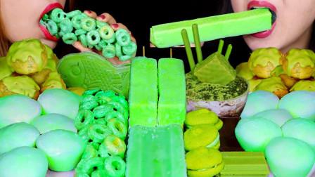 """韩国ASMR吃播:""""甜瓜麻糬冰淇淋+绿茶巧克力奶油泡芙+棉花糖麦片"""",听这咀嚼音,吃货姐妹花吃得真馋人"""