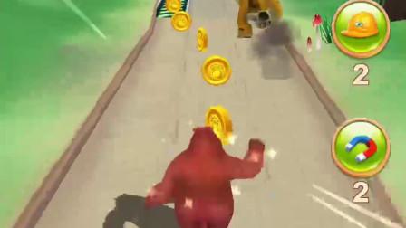 熊大在悬崖上酷跑 它能抓住树藤吗?熊出没冒险游戏