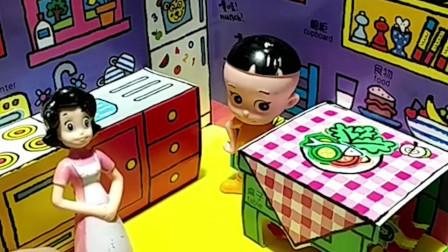 围裙妈妈的汉堡糖少了,原来是被大头儿子和小头爸爸藏起来了,围裙妈妈要把汉堡糖找出来!
