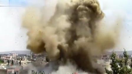 实拍叙利亚战场画面,桶装炸弹摧毁叛军据点!