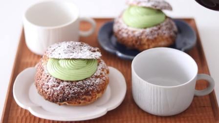 抹茶和牛奶奶油的曲奇泡芙 制作方法 饭后甜点
