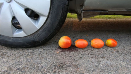 减压实验:牛人把西红柿、饼干、玩具放在车轮下,好减压,勿模仿