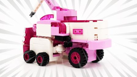 拼装超级飞侠小爱机器人,起重机,直升机乐高积木
