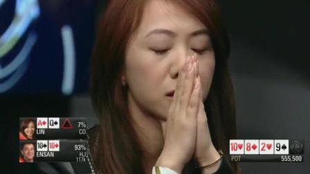 德州扑克:中国美女打法真凶,这都敢秒Call,对手可是葫芦啊!
