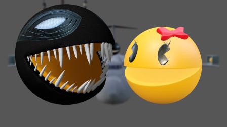 哈哈,小章鱼想偷袭吃豆人 结果被吃豆人追着跑 吃豆人游戏