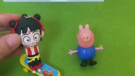 小猪乔治有一个小滑板,小哪吒把乔治的滑板车拿走了,小哪吒这样做对吗?