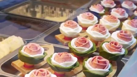 街边小吃玫瑰花冰淇淋,吃冰激凌也需要仪式感的!