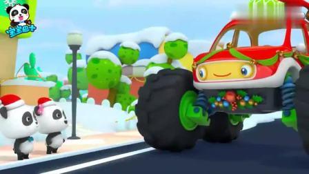 宝宝巴士:圣诞杯怪兽车比赛小汽车,输了心情低落,奇奇带吃糖果