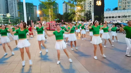 成都新都红孩儿减肥健身操,DJ舞《映山红》编舞叶子,传化广场