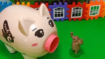 佩奇和熊二被怪兽追,小猪把他们藏起来了,小猪真善良
