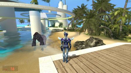 赛罗奥特曼发现大猩猩在海边玩水,要怎么办啊?