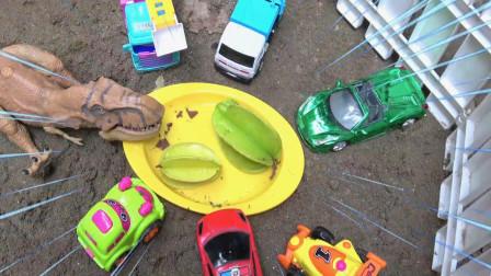 亮亮玩具恐龙霸王龙向汽车道歉,婴幼儿宝宝早教益智游戏视频