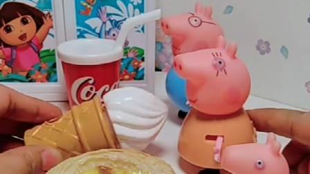 主人给小猪一家发好吃的了,给乔治蛋挞佩奇汉堡,乔治要跟姐姐换