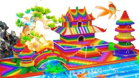 趣味DIY,达人用磁球建造日式风格宝塔水族馆,好有味道的感觉