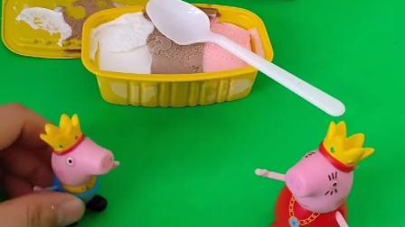 猪妈妈买了一个雪糕,专门给乔治一个人吃的,乔治都不敢相信