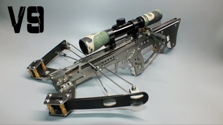 做工精致的全不锈钢迷你弓弩,还带狙击镜