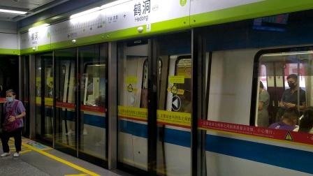 2020年8月7日,佛山地铁一号线(沥滘站—新城东站)本务广州地铁集团有限公司B3型蓝带列车GFX027-028鹤洞站下行方向进站、出站