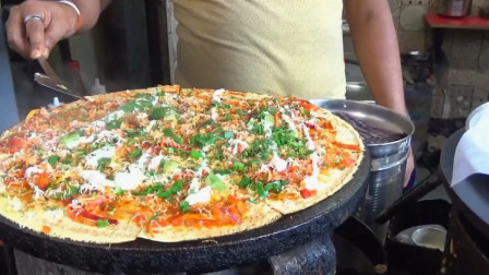 印度街头自制披萨饼,第一次看到这么干净的印度小吃,你想吃吗?