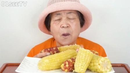 韩国老太太今天啃玉米, 牙口也太好了吧!