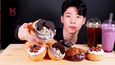 韩国欧巴声控吃播巧克力,奶油甜甜圈曲奇饼干,真是秀色可餐啊