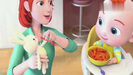 超级宝贝:宝宝吃绿豌豆,都不挑食啊,真是好宝宝啊