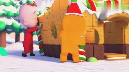 超级宝贝:宝宝们为姜饼屋做上装饰,拿着饼干一起,拼好姜饼屋!