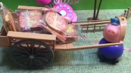 猪爷爷买了这么多饼干,乔治佩奇可高兴了,还说吃完了再给他们买