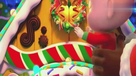 超级宝贝:圣诞快乐,谢谢圣诞老人,可爱的姜饼屋完成了!