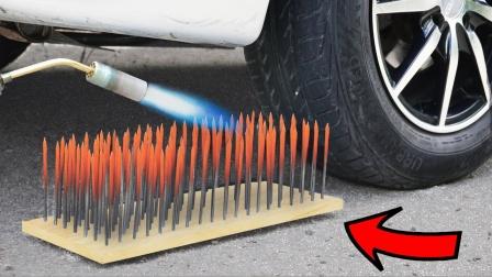 趣味实验:汽车从烧红的钢钉上碾压过去,结果让你无法想象!