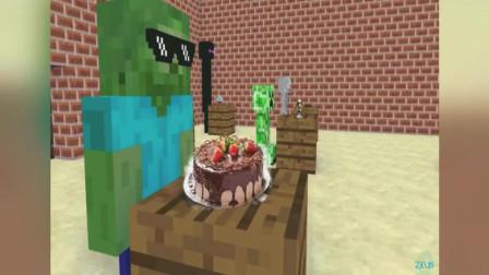 我的世界:僵尸制作美味巧克力蛋糕