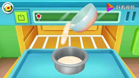 宝宝巴士:开始搅拌,蛋糕液放入烤箱,酸奶芒果巧克力