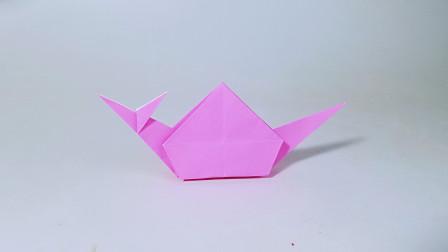 教你折纸蜗牛,花园系列折纸,儿童很喜欢