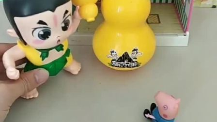 乔治佩奇想要玩宝葫芦,可是这个东西不能借人,就给他们做了一个新的