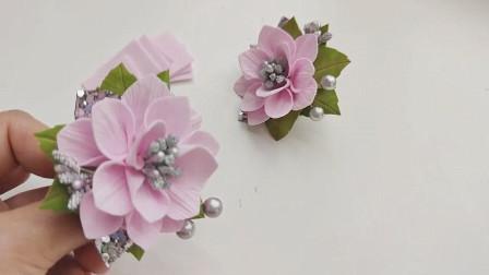 手工头饰教学,花朵头绳的制作方法,起来的非常漂亮!