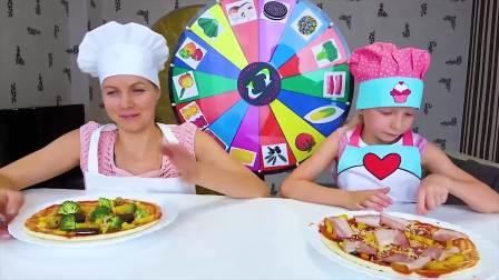 国外儿童时尚,小萝莉和妈妈做美味的披萨,看着好好吃啊