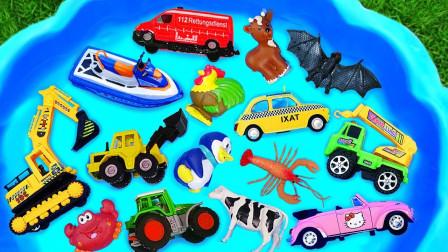 学习汽车名称与动物玩具:自卸车,熊猫,垃圾车,大猩猩,大卡车!