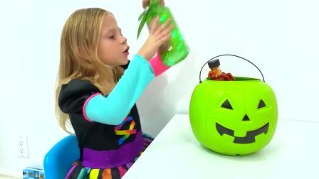 美国儿童时尚,小女孩正在为万圣节收集糖果,太酷了吧