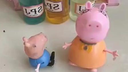 乔治知道嘴甜的小孩有糖吃,就到处夸猪妈妈猪爸爸,还有姐姐佩奇