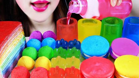 吃播界超流行的彩虹系列的甜食,创意的造型美味的口感,大快朵颐超满足!
