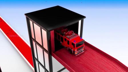 乐享知识乐园的消防车驶出车库进入赛道