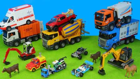 儿童玩具车表演:挖掘机清理危房和沙子,救护车救援受伤病人,消防车救援火灾农场!