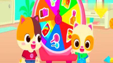 宝宝巴士:小猫咪行动起来,做美味彩色的糖果披萨,真好吃呀!