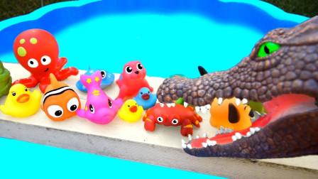 蓝水池里的海洋动物趣味识名字:剑吻鲨,锯齿鲨,大鲨鱼,鳄鱼!
