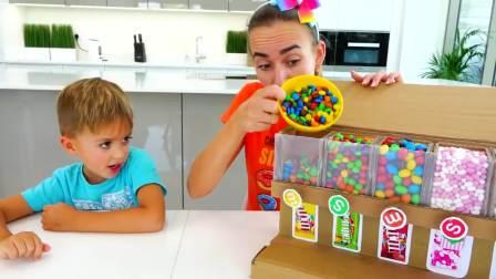 国外儿童时尚,两个小男孩帮助妈妈做家务,妈妈就奖励彩虹糖
